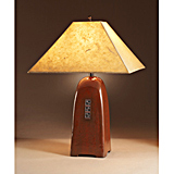 Russet Ceramic Lamp with Lokta Shade