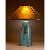 Viridian Ceramic Lamp with Mica Shade