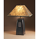 Onyx Stoneware Lamp with Mica Shade