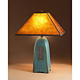 Viridian Pottery Lamp with Mica Shade