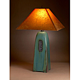 Viridian Pottery Lamp with Lokta Shade