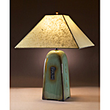 Celadon Stoneware Lamp with Lokta Shade