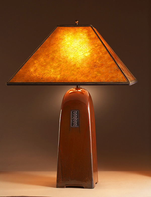 Russet Ceramic Lamp with Mica Shade - Click Image to Close