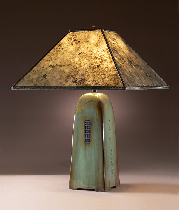 Celadon Ceramic Light with Mica Shade - Click Image to Close